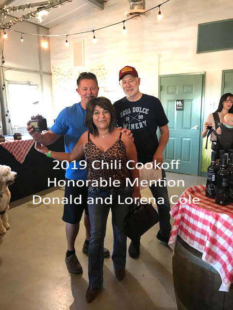 chili cook-off honorable mention Donald and Lorena Cole
