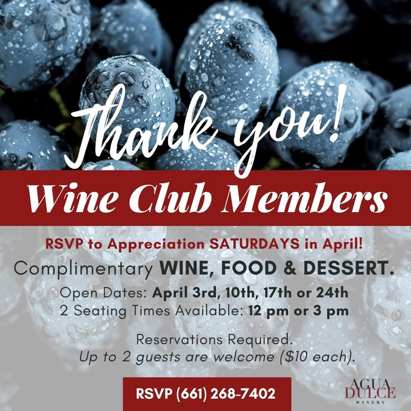 Wine Club Members appreciation Saturday