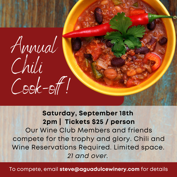 Annual Chili Cookoff, September 18, 2 p.m., $25, reservations required