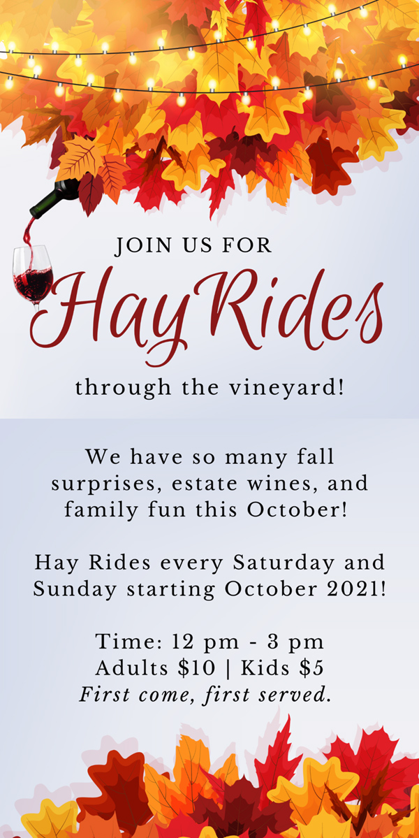 Hay rides, Saturdays and Sundays in October. Noon to 3 p.m., adults $10, kids $5, first come, first served.